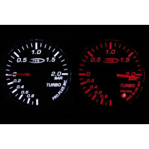 PRO RACING GAUGE 52mm - TURBO Piros&FEHÉR (Mechanikus)